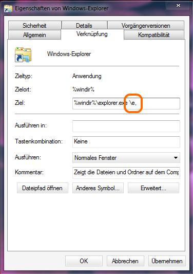 Windows Explorer Eigenschaften