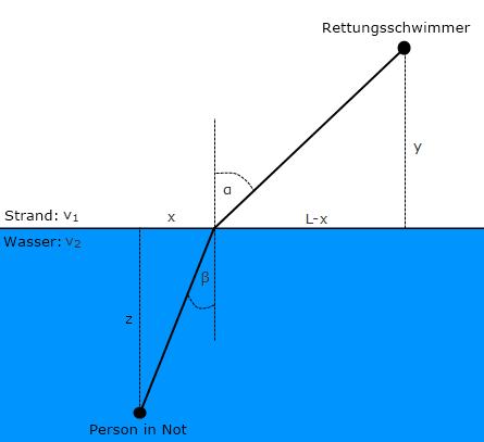 Physikübung 7: Ein Rettungsschwimmer und das Brechungsgesetz