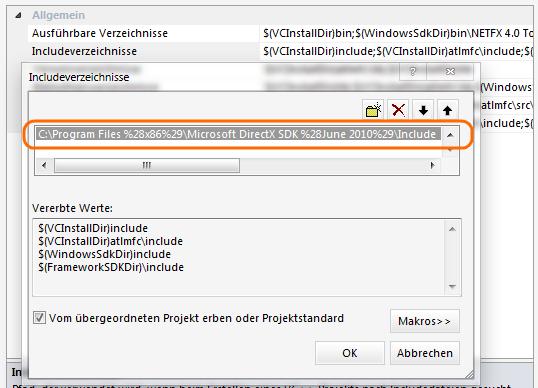 VS: DirectX einbinden 4