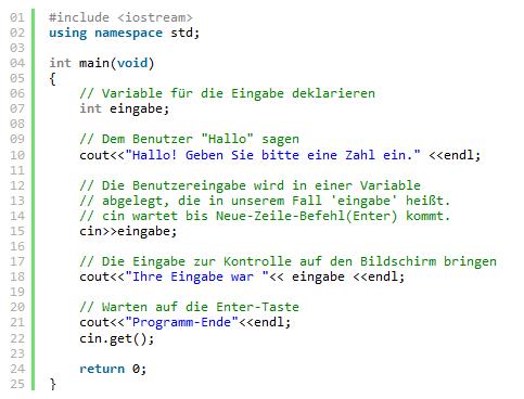 C++ Code mit Leerzeichen