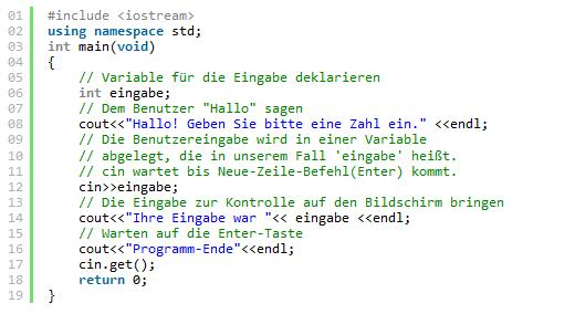 C++ Code ohne Leerzeichen
