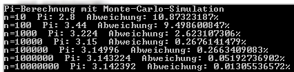 Berechnung von Pi mit Monte-Carlo-Verfahren.