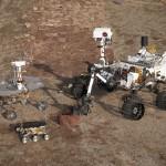 Drei Generationen von Marsrovern: Spirit/Opportunity, Sojourner, Curiosity (von links nach rechts). (c) NASA/JPL-Caltech.