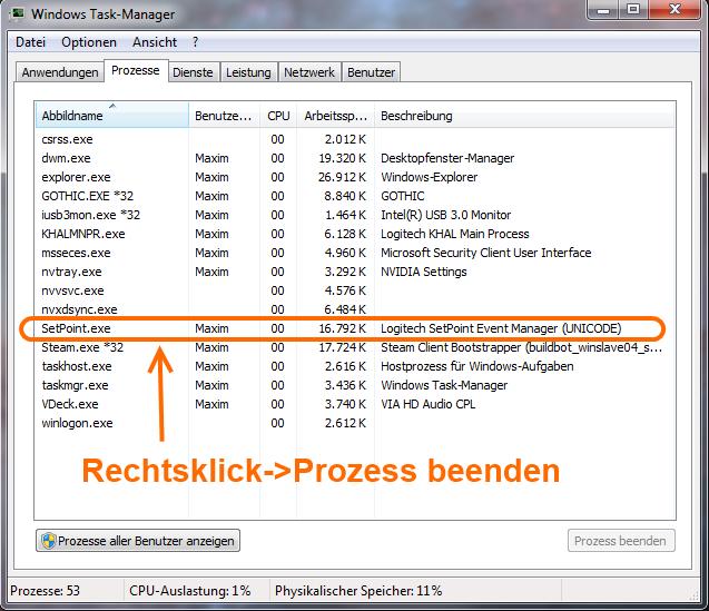 """Durch die Tastenkombination Strg+Alt+Entf den Taskmanager öffnen. Rechtsklick auf setpoint.exe und dann auf """"Prozess beenden"""" klicken."""