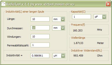 Induktivität Einer Spule Berechnen : radiotool virtual maxim ~ Themetempest.com Abrechnung
